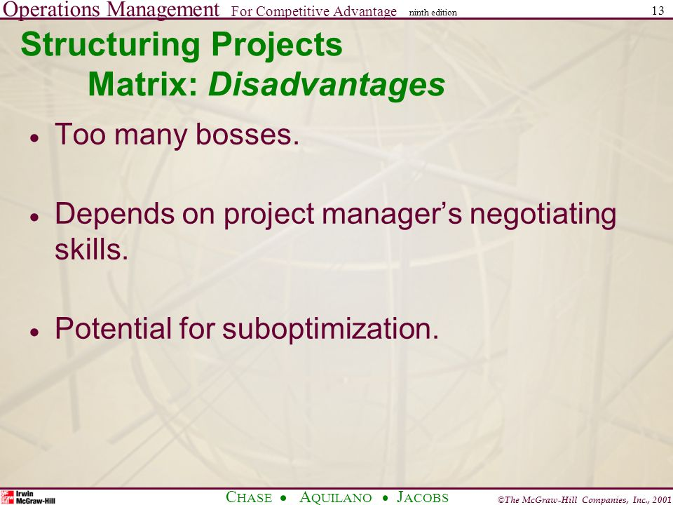 Operations Management For Competitive Advantage © The McGraw-Hill Companies, Inc., 2001 C HASE A QUILANO J ACOBS ninth edition 13 Structuring Projects Matrix: Disadvantages  Too many bosses.