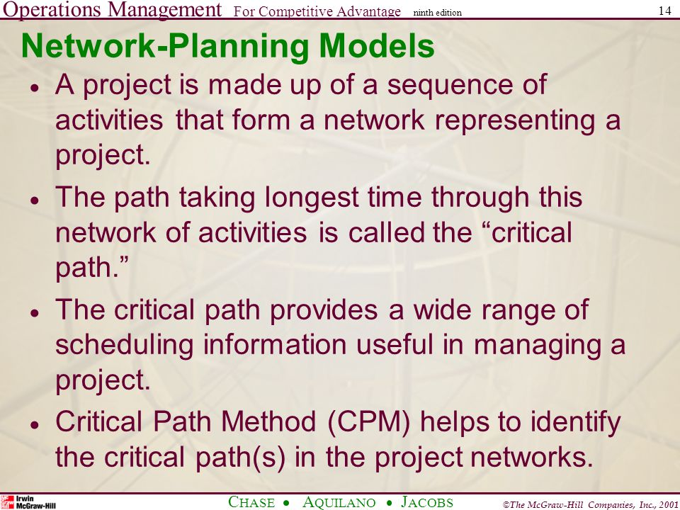 Operations Management For Competitive Advantage © The McGraw-Hill Companies, Inc., 2001 C HASE A QUILANO J ACOBS ninth edition 14 Network-Planning Models  A project is made up of a sequence of activities that form a network representing a project.
