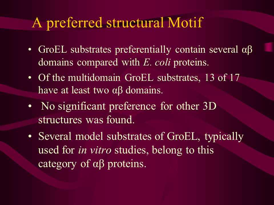 GroEl Substrates – Common Motif.