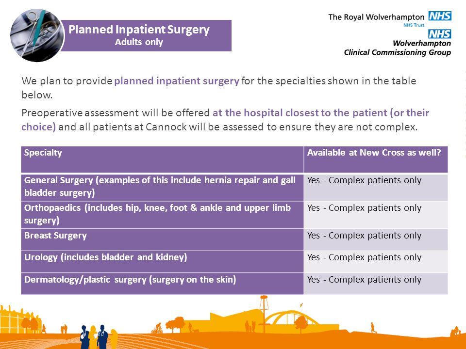 We plan to provide planned inpatient surgery for the specialties shown in the table below.