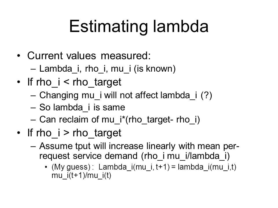 Estimating lambda Current values measured: –Lambda_i, rho_i, mu_i (is known) If rho_i < rho_target –Changing mu_i will not affect lambda_i (?) –So lambda_i is same –Can reclaim of mu_i*(rho_target- rho_i) If rho_i > rho_target –Assume tput will increase linearly with mean per- request service demand (rho_i mu_i/lambda_i) (My guess) : Lambda_i(mu_i, t+1) = lambda_i(mu_i,t) mu_i(t+1)/mu_i(t)