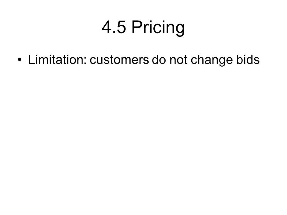 4.5 Pricing Limitation: customers do not change bids
