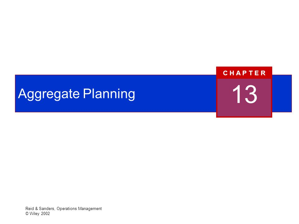 Reid & Sanders, Operations Management © Wiley 2002 Aggregate Planning 13 C H A P T E R