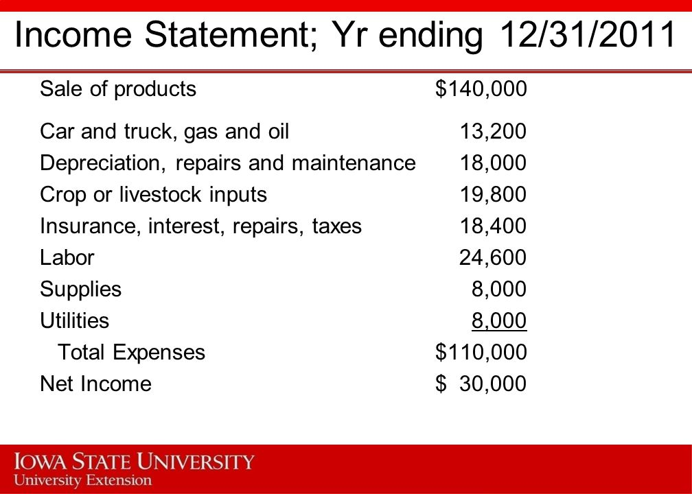 Income Statement; Yr ending 12/31/2011 Sale of products$140,000 Car and truck, gas and oil 13,200 Depreciation, repairs and maintenance 18,000 Crop or livestock inputs 19,800 Insurance, interest, repairs, taxes 18,400 Labor 24,600 Supplies 8,000 Utilities 8,000 Total Expenses$110,000 Net Income$ 30,000