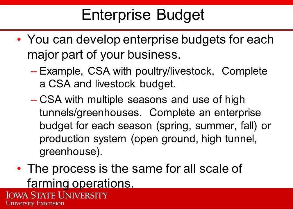 Enterprise Budget You can develop enterprise budgets for each major part of your business.