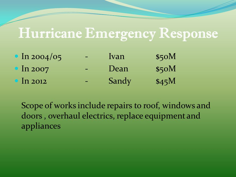 Hurricane Emergency Response In 2004/05 -Ivan $50M In 2007-Dean$50M In 2012-Sandy$45M Scope of works include repairs to roof, windows and doors, overhaul electrics, replace equipment and appliances
