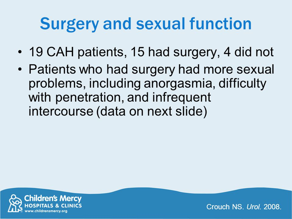 Surgery and sexual function 19 CAH patients, 15 had surgery, 4 did not Patients who had surgery had more sexual problems, including anorgasmia, difficulty with penetration, and infrequent intercourse (data on next slide) Crouch NS.