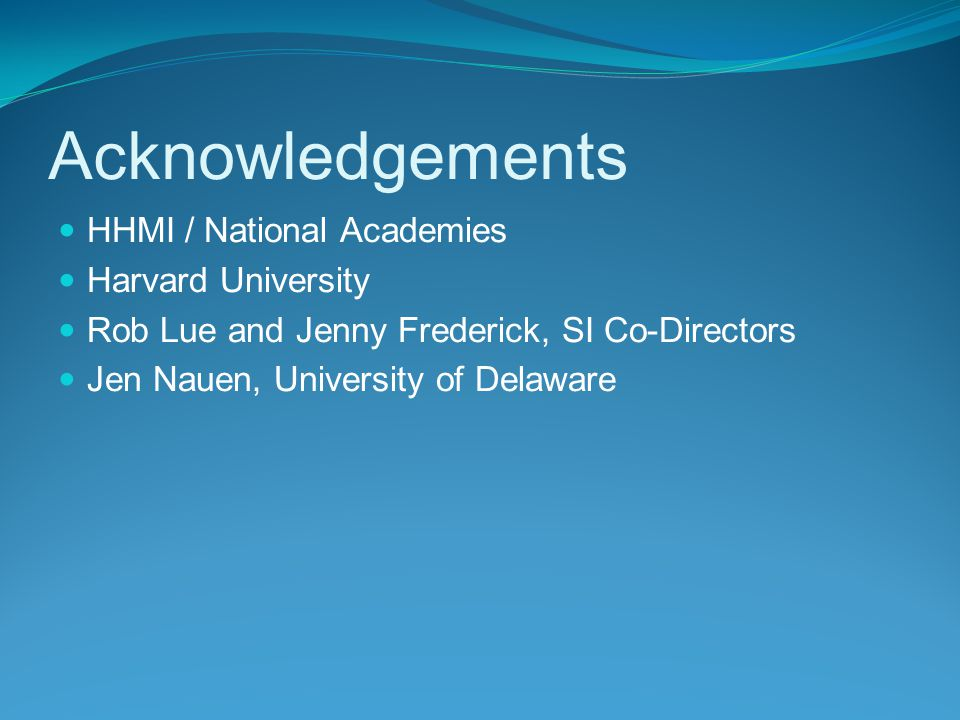 Acknowledgements HHMI / National Academies Harvard University Rob Lue and Jenny Frederick, SI Co-Directors Jen Nauen, University of Delaware