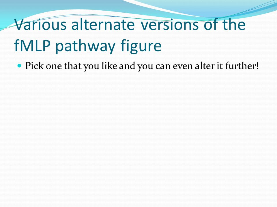Various alternate versions of the fMLP pathway figure Pick one that you like and you can even alter it further!