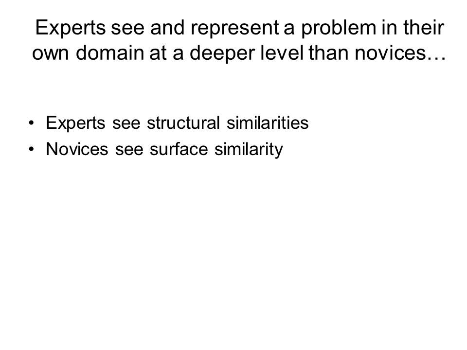 Experts see and represent a problem in their own domain at a deeper level than novices… Experts see structural similarities Novices see surface similarity