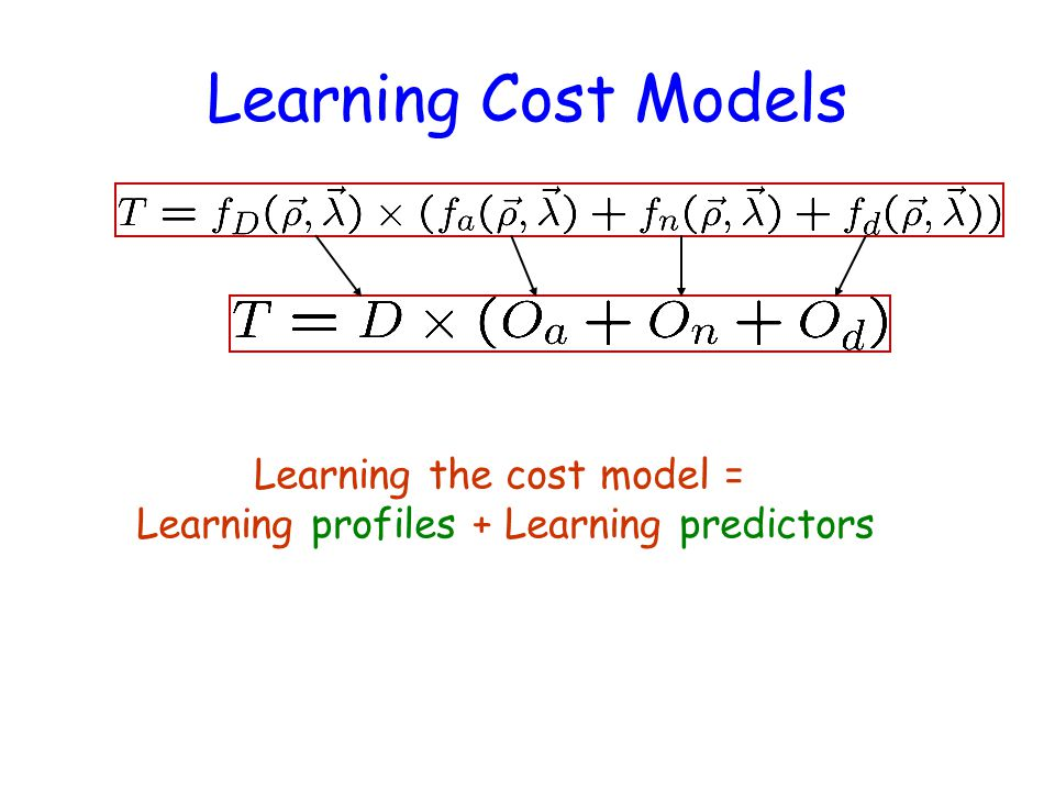 Learning Cost Models Learning the cost model = Learning profiles + Learning predictors