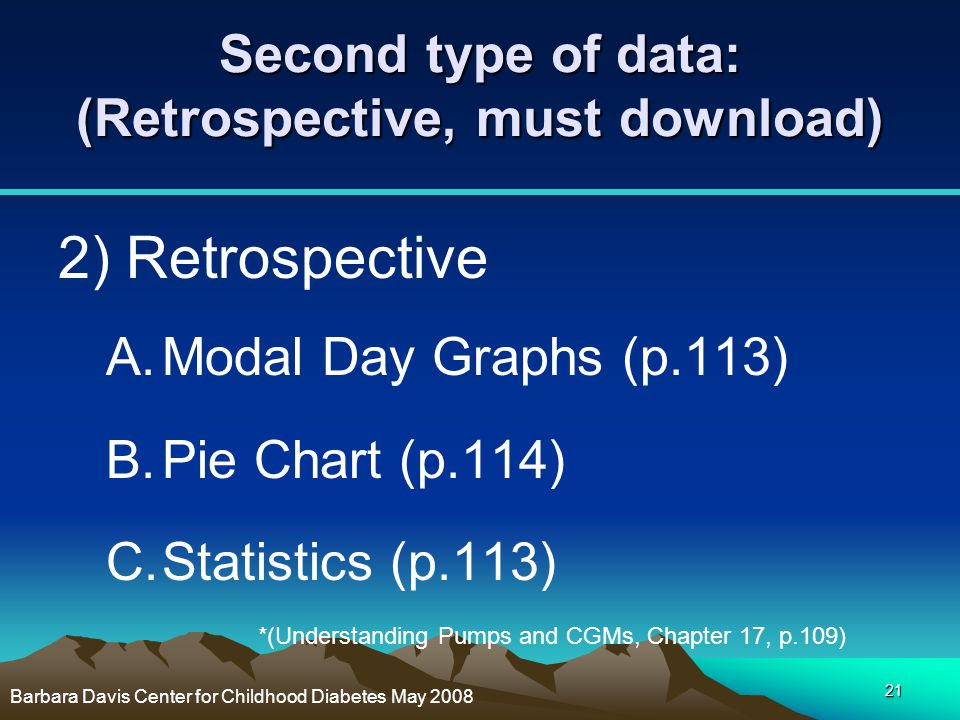 21 Second type of data: (Retrospective, must download) 2) Retrospective A.Modal Day Graphs (p.113) B.Pie Chart (p.114) C.Statistics (p.113) *(Understa
