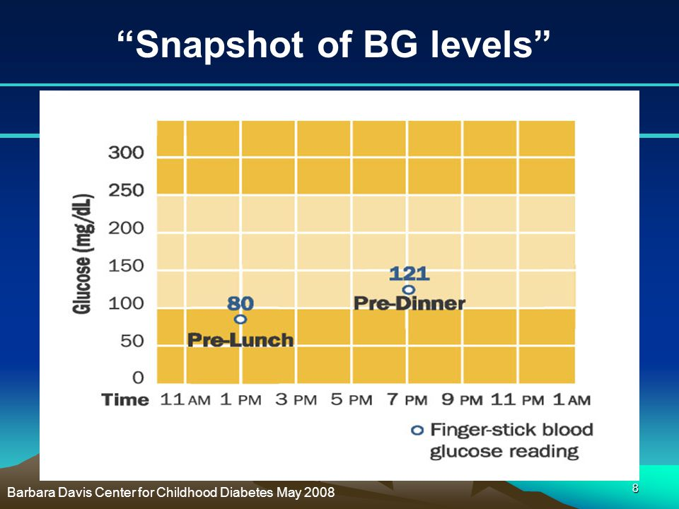"8 ""Snapshot of BG levels"" Barbara Davis Center for Childhood Diabetes May 2008"