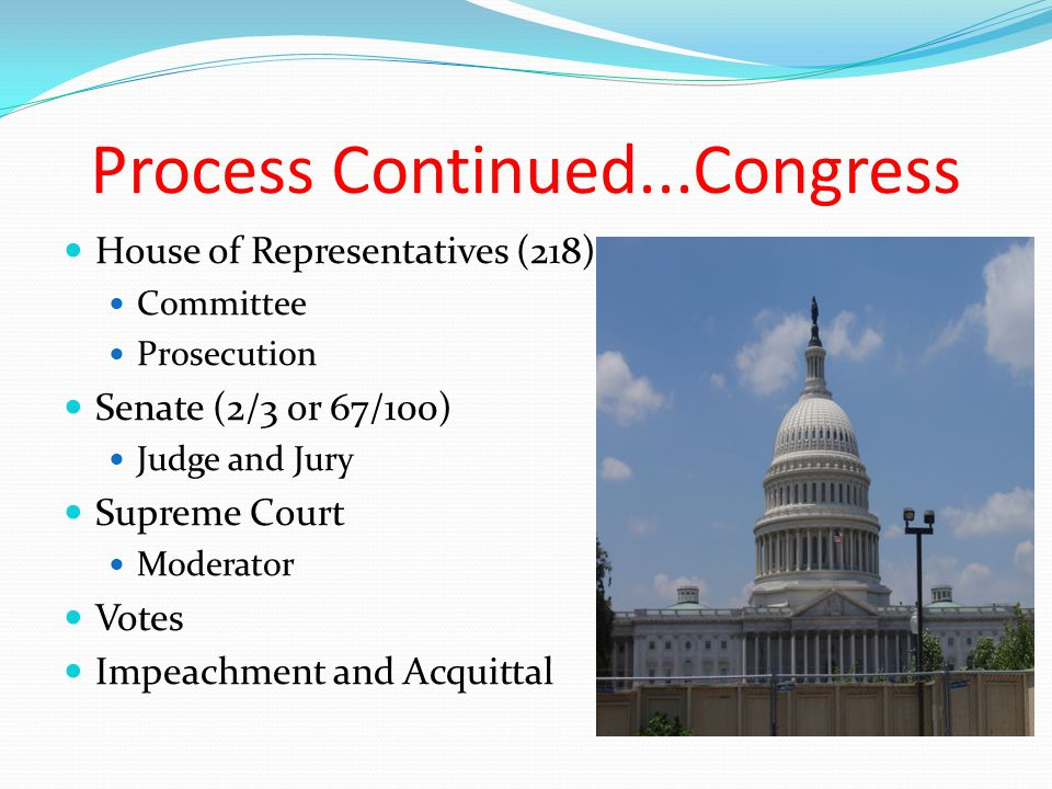 Process Continued...Congress House of Representatives (218) Committee Prosecution Senate (2/3 or 67/100) Judge and Jury Supreme Court Moderator Votes