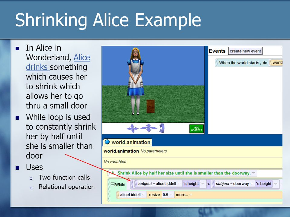 Shrinking Alice Example In Alice in Wonderland, Alice drinks something which causes her to shrink which allows her to go thru a small doorAlice drinks