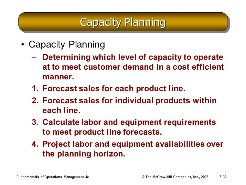 Fundamentals of Operations Management 4e© The McGraw-Hill Companies, Inc., 20037–30 Capacity Planning –Determining which level of capacity to operate
