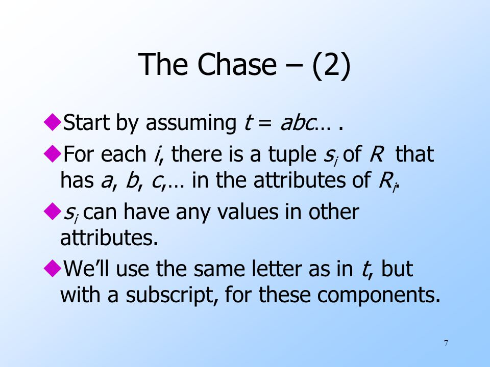 7 The Chase – (2) uStart by assuming t = abc….
