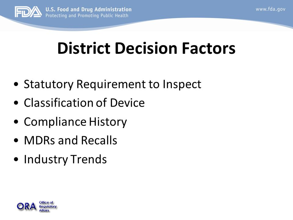 District Decision Factors Statutory Requirement to Inspect Classification of Device Compliance History MDRs and Recalls Industry Trends