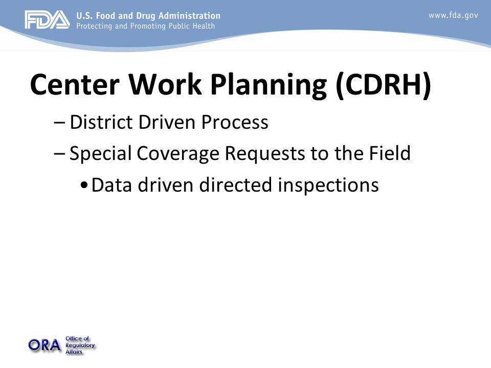 Center Work Planning (CDRH) –District Driven Process –Special Coverage Requests to the Field Data driven directed inspections