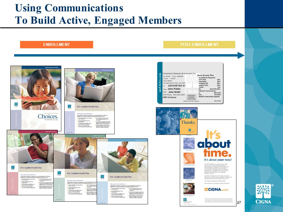 27 Using Communications To Build Active, Engaged Members POST-ENROLLMENTENROLLMENT