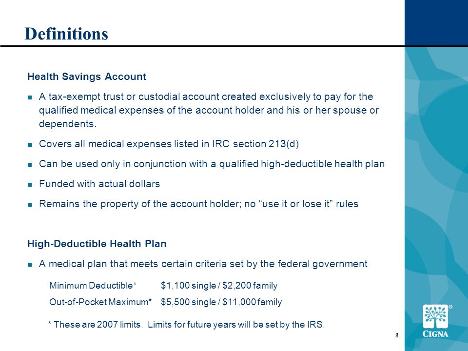 8 Definitions Health Savings Account A tax-exempt trust or custodial account created exclusively to pay for the qualified medical expenses of the account holder and his or her spouse or dependents.