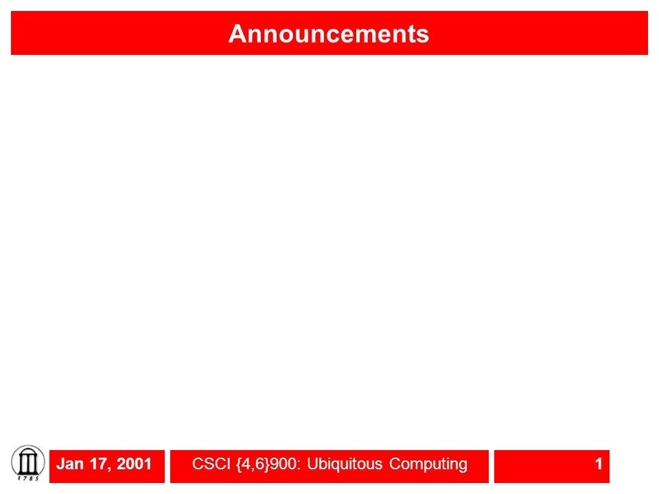Jan 17, 2001CSCI {4,6}900: Ubiquitous Computing1 Announcements