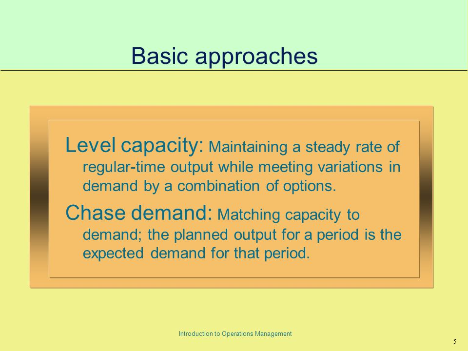 16 Introduction to Operations Management Summary of Planning Techniques
