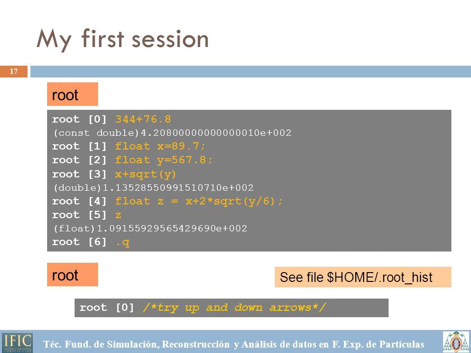 My first session 17 Téc. Fund. de Simulación, Reconstrucción y Análisis de datos en F.