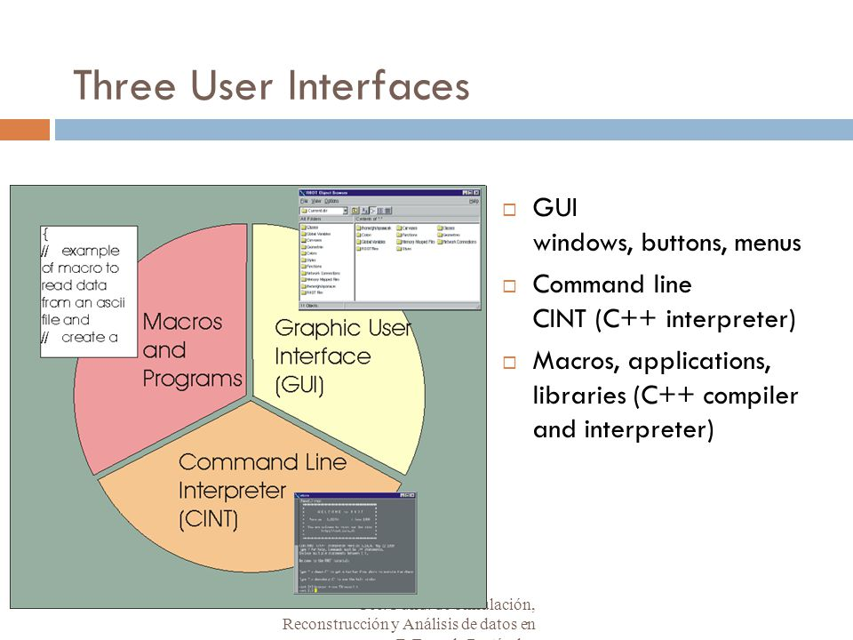 Three User Interfaces  GUI windows, buttons, menus  Command line CINT (C++ interpreter)  Macros, applications, libraries (C++ compiler and interpreter) Téc.
