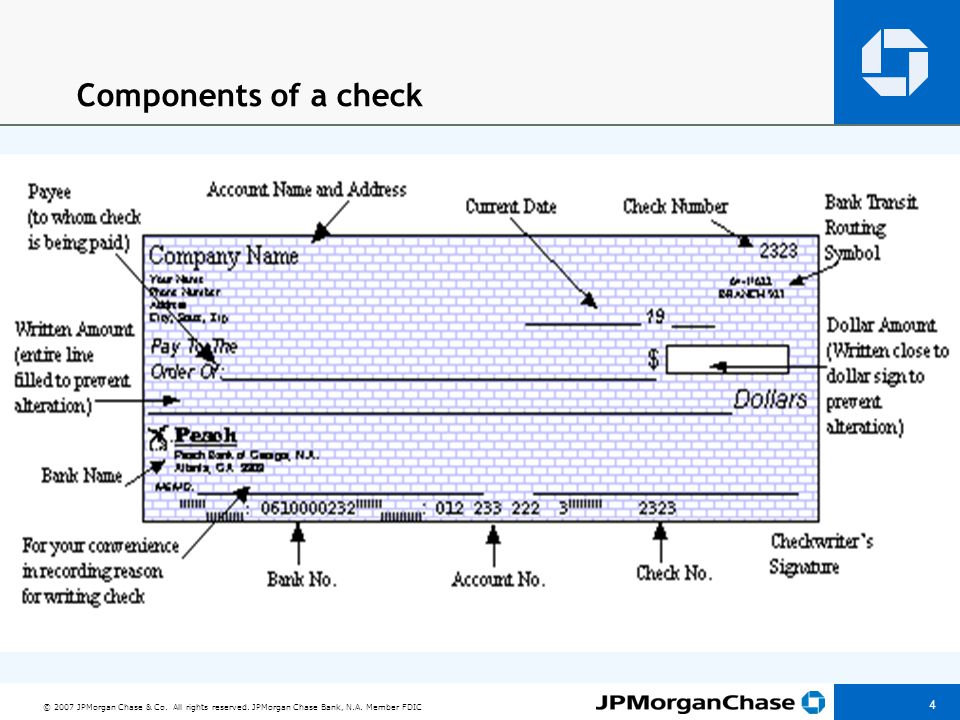 © 2007 JPMorgan Chase & Co. All rights reserved. JPMorgan Chase Bank, N.A. Member FDIC 4 Components of a check