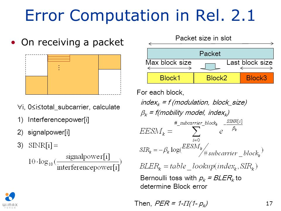 17 Error Computation in Rel. 2.1 On receiving a packet  i, 0  i  total_subcarrier, calculate 1)Interferencepower[i] 2)signalpower[i] 3) Block1Block