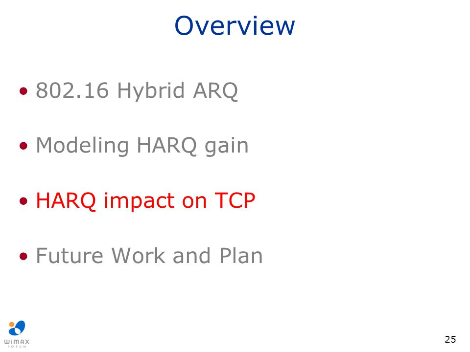 25 Overview 802.16 Hybrid ARQ Modeling HARQ gain HARQ impact on TCP Future Work and Plan
