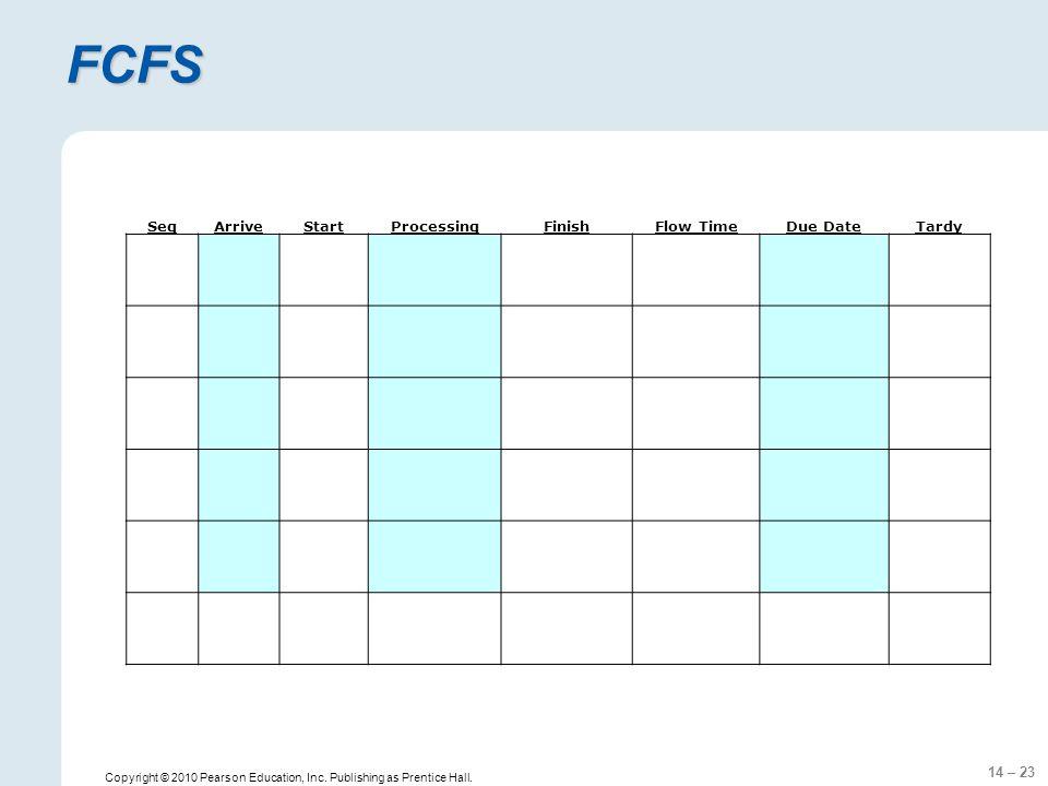 14 – 23 FCFS Copyright © 2010 Pearson Education, Inc.
