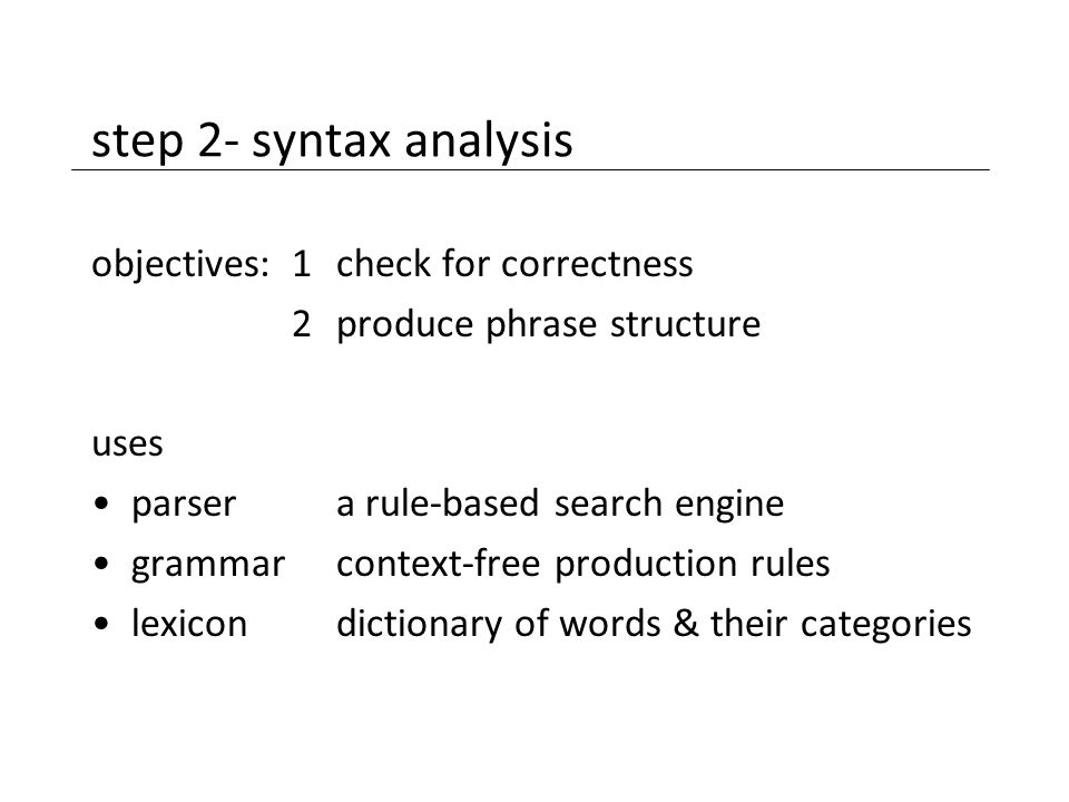 step 2- syntax analysis objectives:1check for correctness 2produce phrase structure uses parsera rule-based search engine grammarcontext-free producti