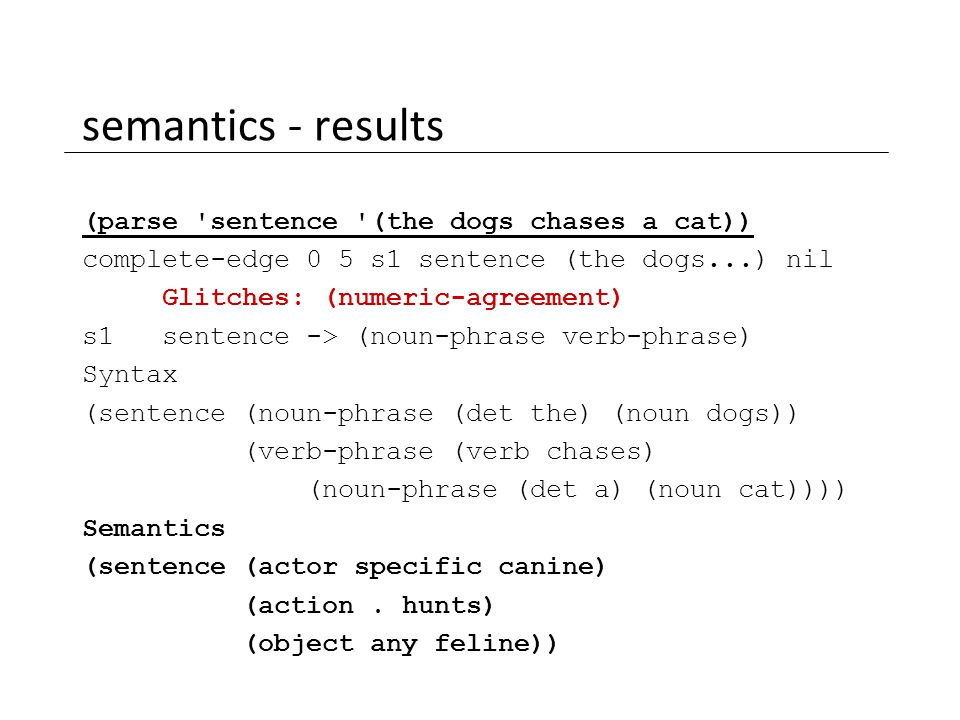 semantics - results (parse 'sentence '(the dogs chases a cat)) complete-edge 0 5 s1 sentence (the dogs...) nil Glitches: (numeric-agreement) s1 senten