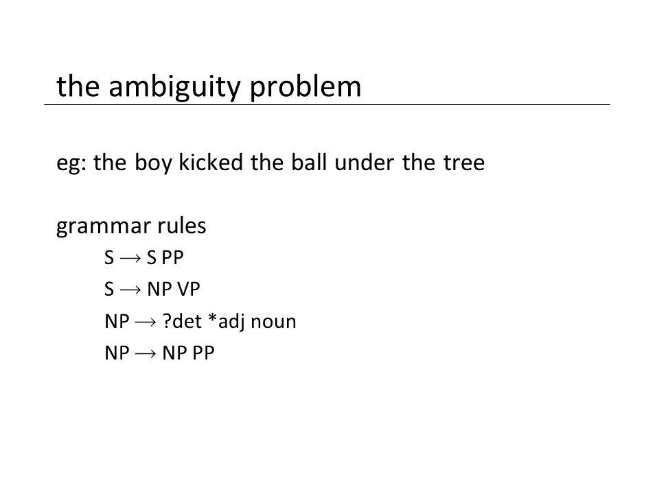 the ambiguity problem eg: the boy kicked the ball under the tree grammar rules S  S PP S  NP VP NP  ?det *adj noun NP  NP PP