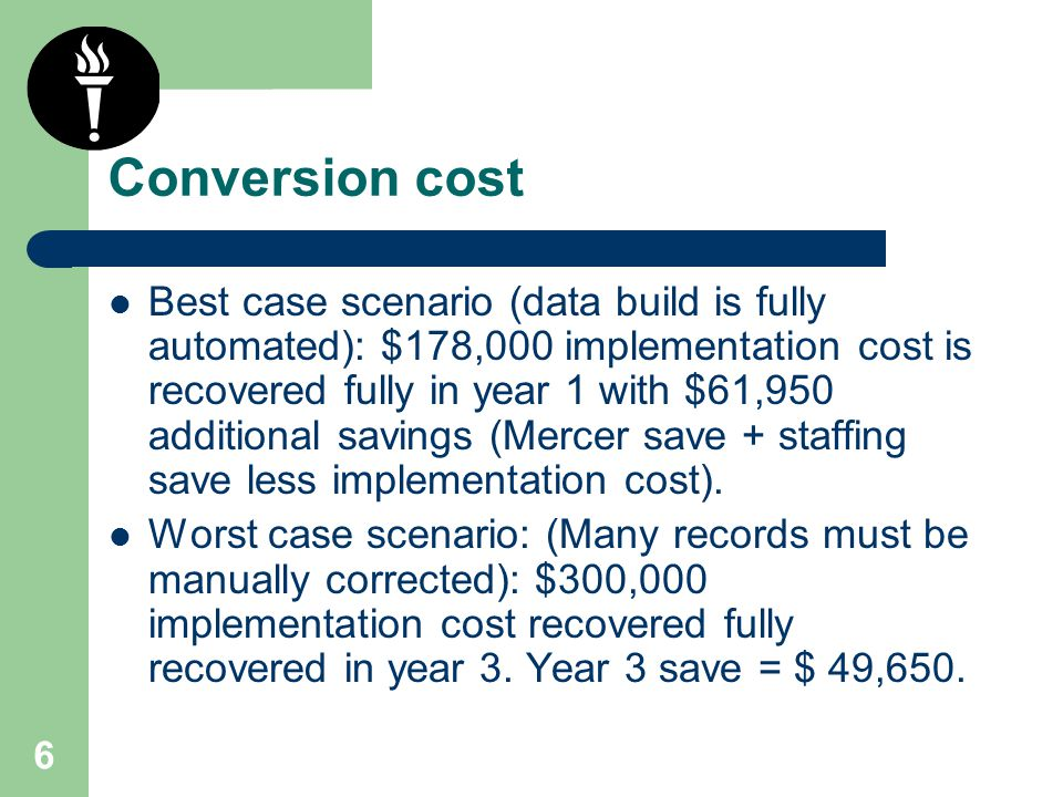 6 Conversion cost Best case scenario (data build is fully automated): $178,000 implementation cost is recovered fully in year 1 with $61,950 additiona