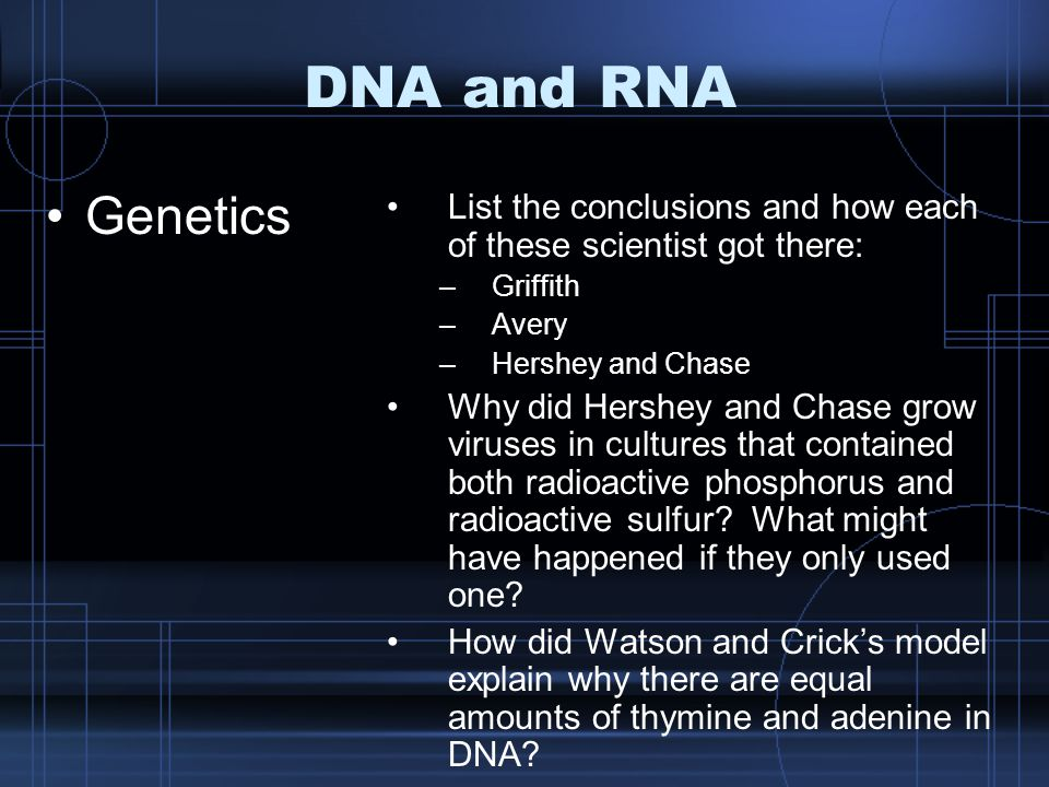 DNA and RNA Genetics List the conclusions and how each of these scientist got there: –Griffith –Avery –Hershey and Chase Why did Hershey and Chase gro