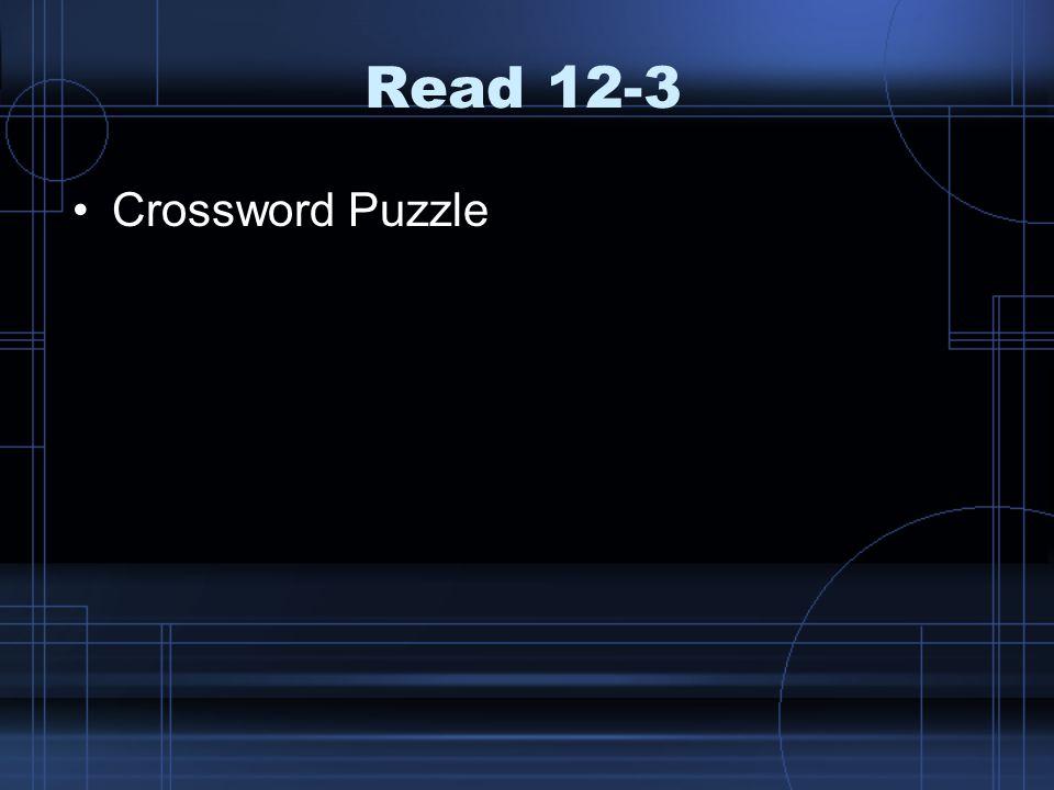 Read 12-3 Crossword Puzzle