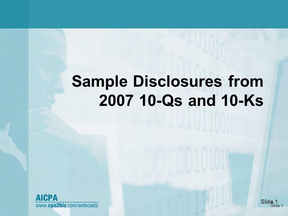 Slide 2 Sample Disclosures: Tabular Reconciliations