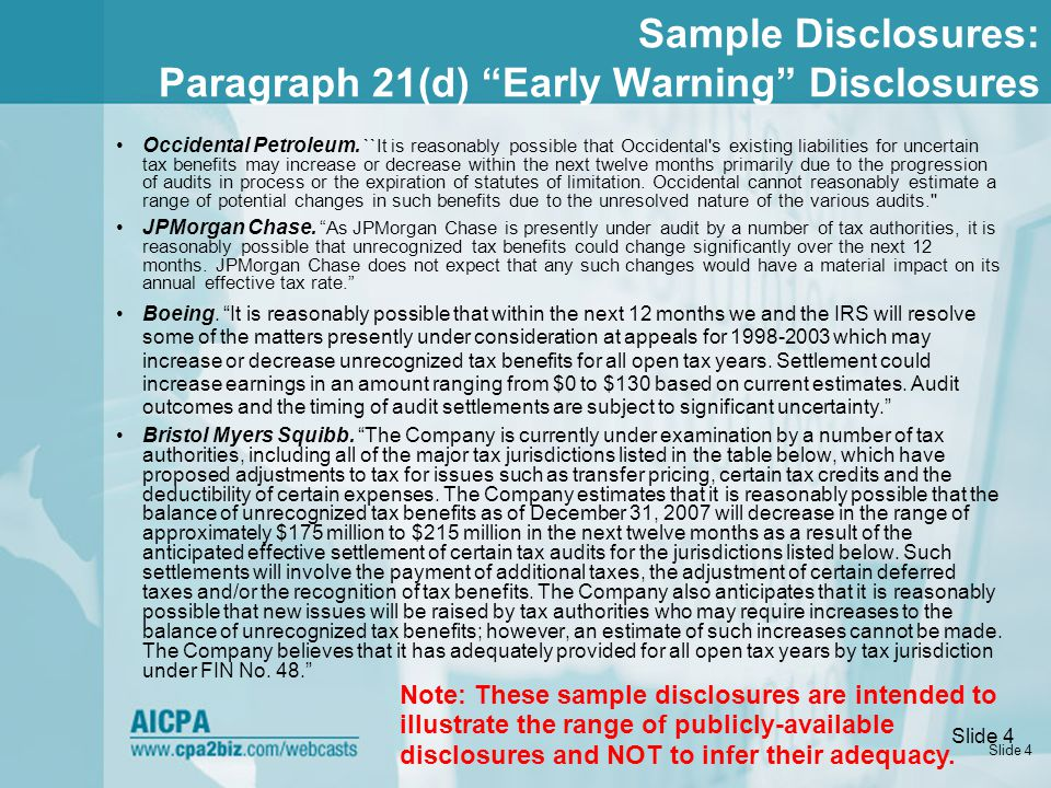 Slide 4 Sample Disclosures: Paragraph 21(d) Early Warning Disclosures Occidental Petroleum.