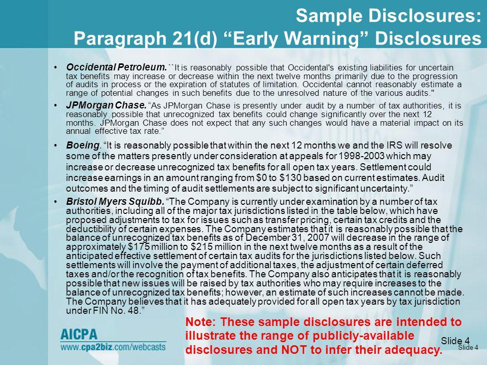 Slide 5 Sample Disclosures: Paragraph 21(d) Expanded Disclosure (GE)