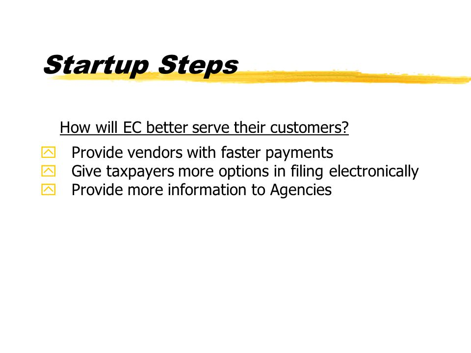 Startup Steps How will EC better serve their customers.