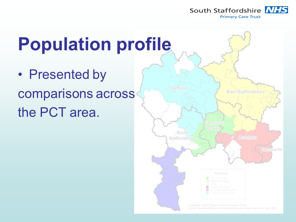 Population profile Presented by comparisons across the PCT area.