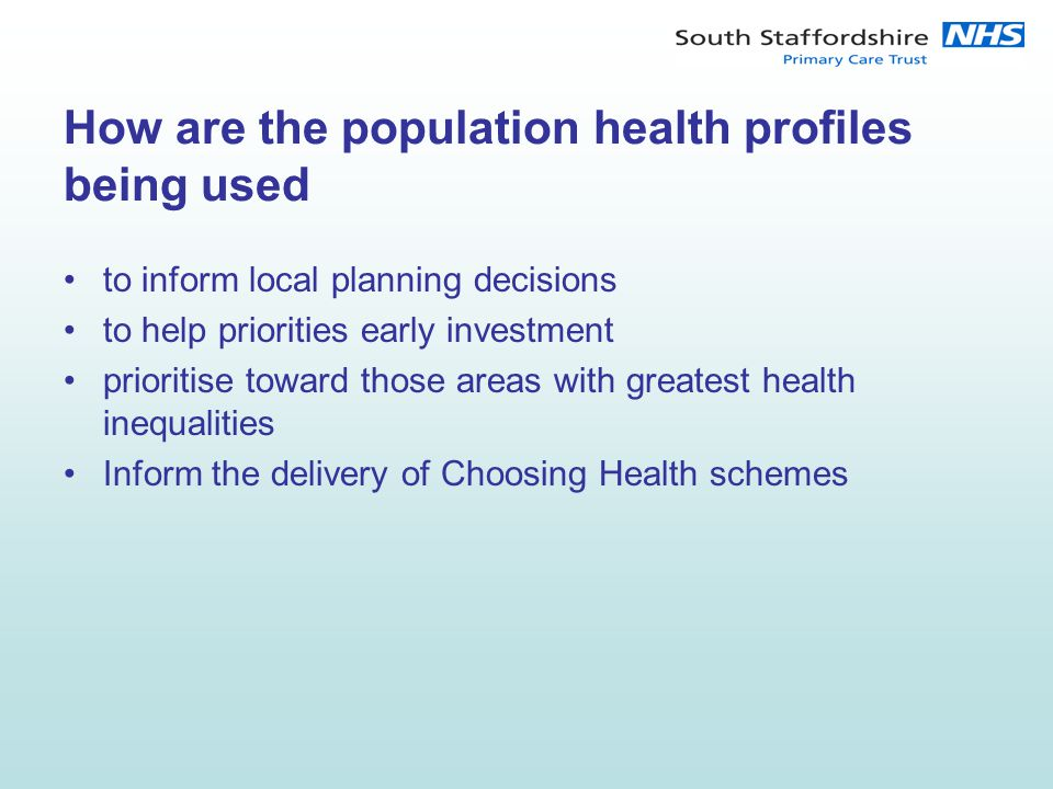How are the population health profiles being used to inform local planning decisions to help priorities early investment prioritise toward those areas