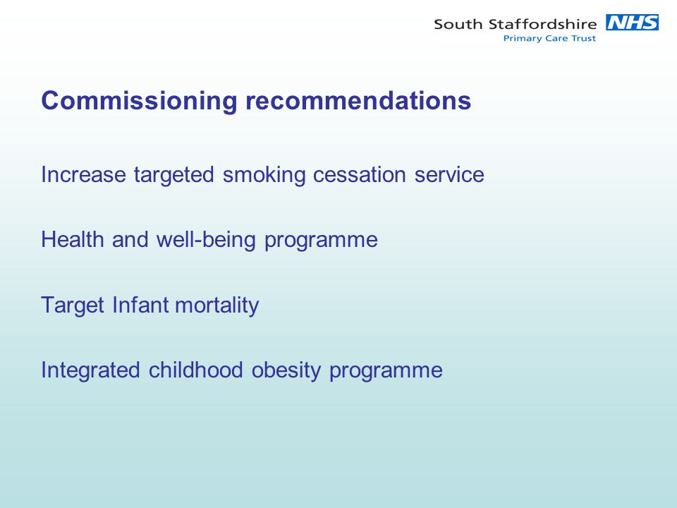 Commissioning recommendations Increase targeted smoking cessation service Health and well-being programme Target Infant mortality Integrated childhood