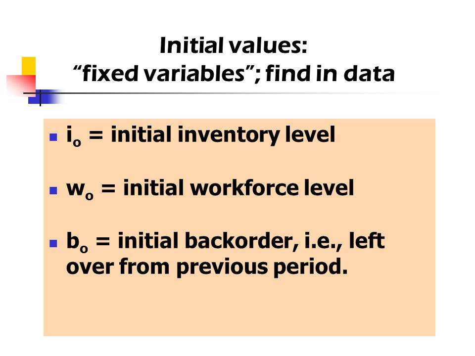 "i o = initial inventory level w o = initial workforce level b o = initial backorder, i.e., left over from previous period. Initial values: ""fixed vari"