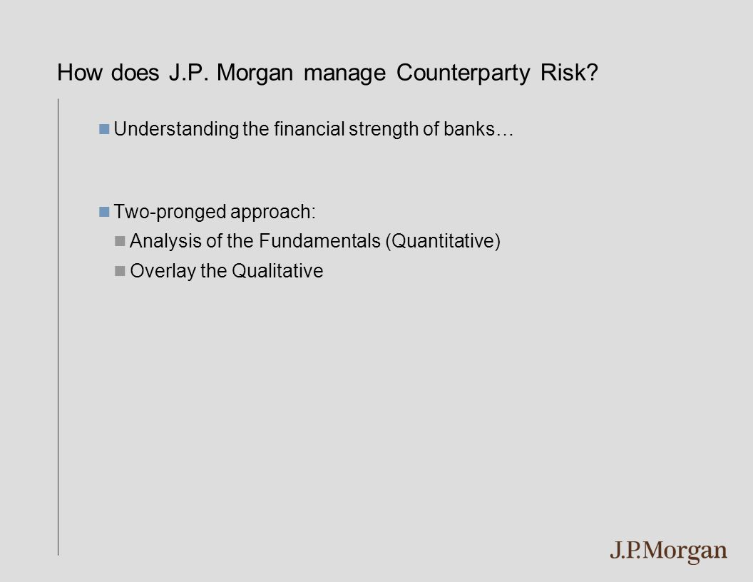 How does J.P. Morgan manage Counterparty Risk? Understanding the financial strength of banks… Two-pronged approach: Analysis of the Fundamentals (Quan
