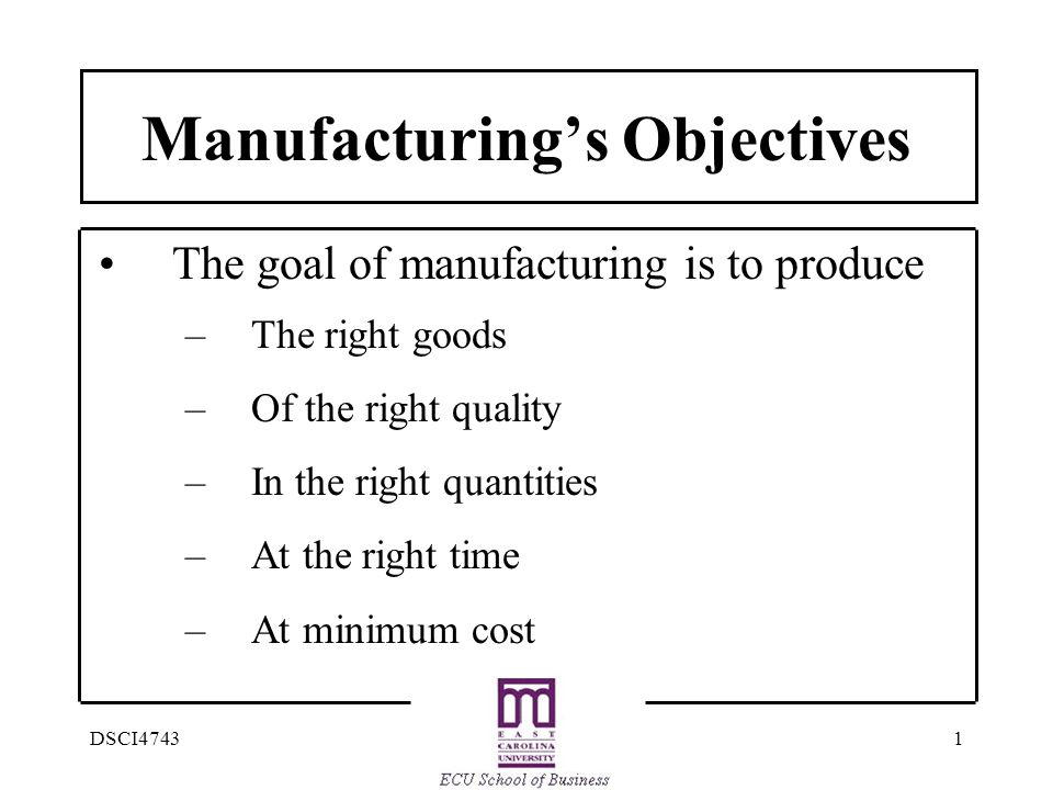1DSCI4743 Manufacturing's Objectives The goal of manufacturing is to produce –The right goods –Of the right quality –In the right quantities –At the right time –At minimum cost