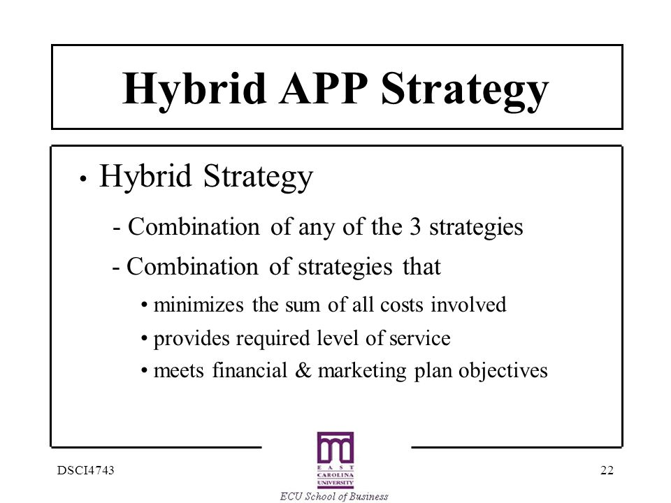 22DSCI4743 Hybrid APP Strategy Hybrid Strategy - Combination of any of the 3 strategies - Combination of strategies that minimizes the sum of all costs involved provides required level of service meets financial & marketing plan objectives